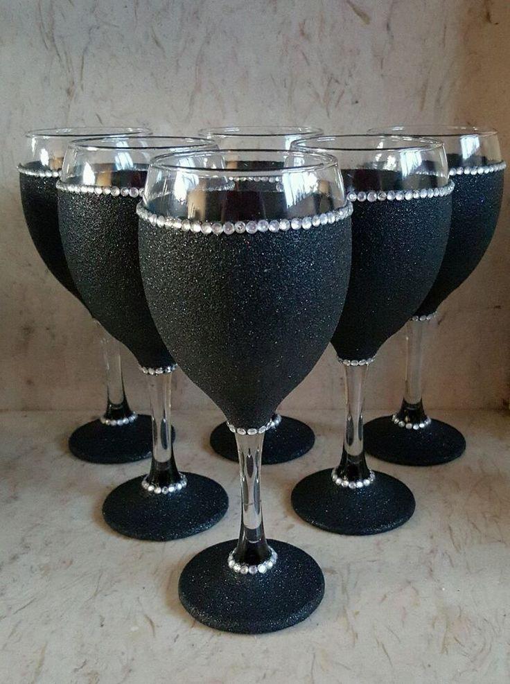 6 black glitter glasses