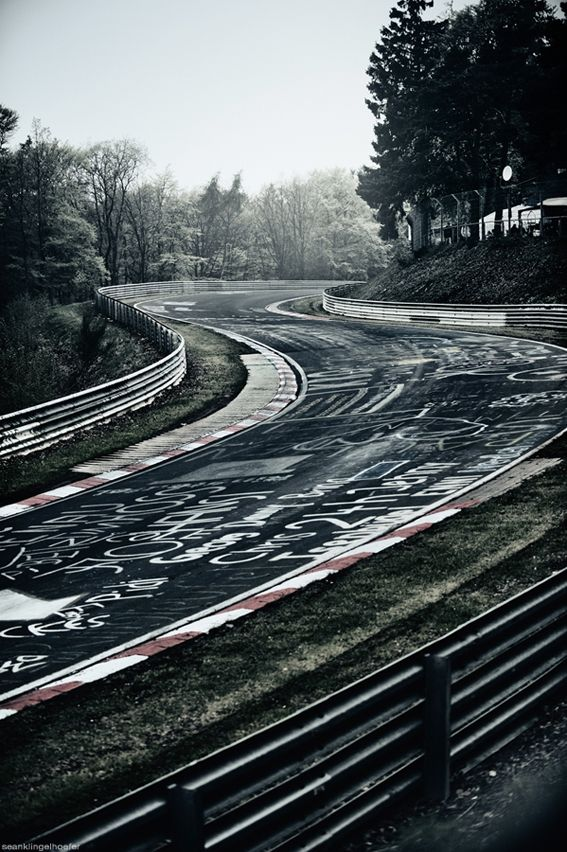 """Nordschleife. Also referred to as """"the green hell""""  the worst most greuling racetrack thats is responsible for multiple deaths a year. ironic that they allow people to graffiti it? I dont think so. Those kooky germans"""