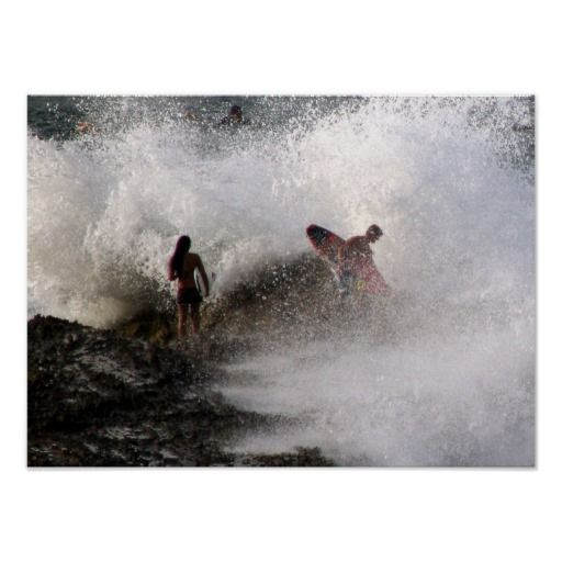 Poster Surfers At Rainbow Bay Australia