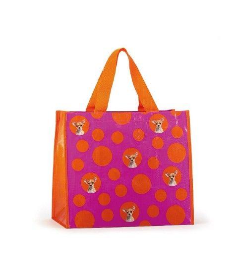 Catseye Spot Chihuahua Shopper Einkaufs-Tasche Beutel Umhängetasche Hund Bag Groß Tragetasche  - 2-flowerpower