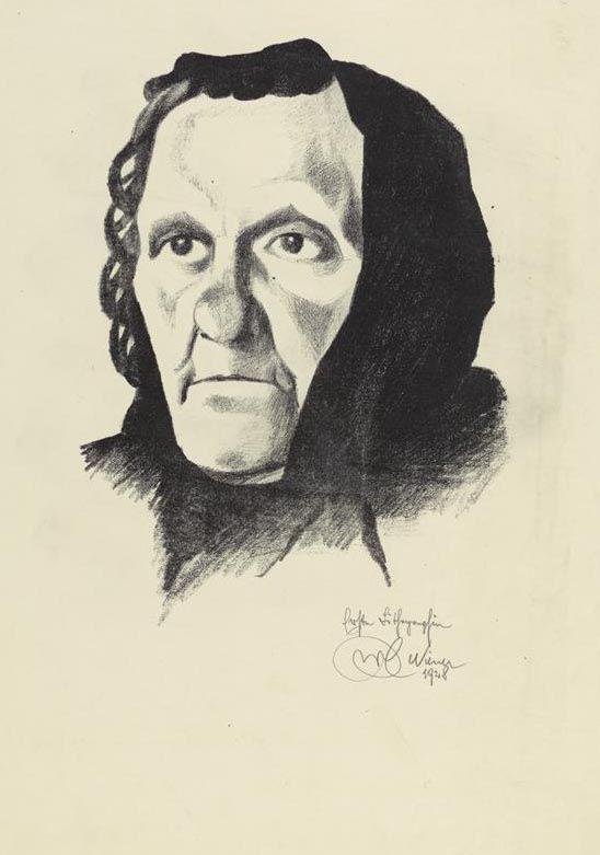 Karl Wiener, Porträt der Mutter, 1928, Lithographie © Wien Museum