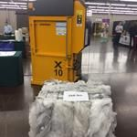 Bramidan X10 with 268 lb. finished bale of plastic shrink wrap #recycle #balers #verticalbaler #polypacker