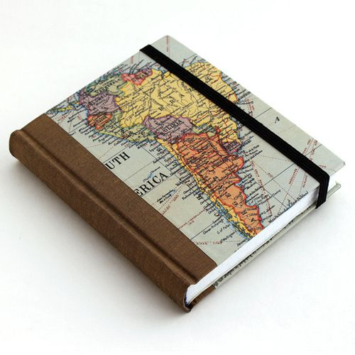 The front cover with a map of South America | #bookbinding by Ruth Bleakley
