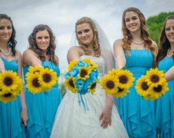 17 piece Sunflower Bouquet Malibu Blue Yellow Sunflower Bridal Bouquet Sunflower Wedding Bouquet Set, Turquoise