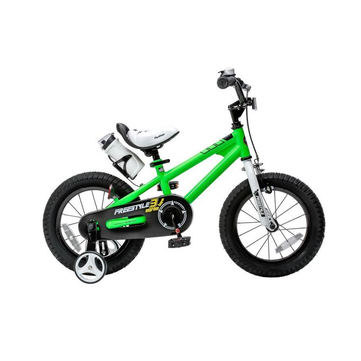 16 in. Wheels Freestyle BMX Kid's Bike, Boy's Bikes and Girl's Bikes with Training Wheels in Green, Greens