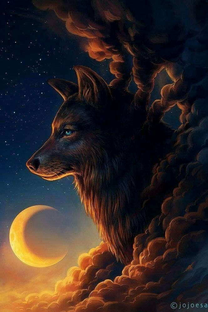 Pin by Melissa Galeski on Lobos Fantasy wolf, Moon
