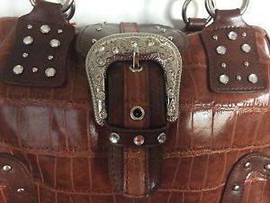 MC by Marc Chantal Brown Faux Crocodile Handbag with Belt Buckle Front and Chain  | eBay