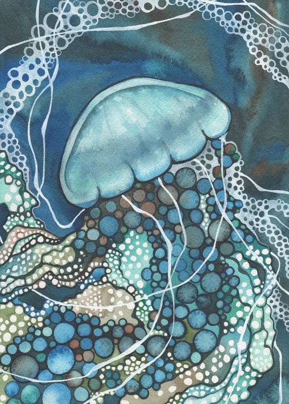 Lace JELLYFISH 5 x 7 print of watercolour painting - magical detailed lattice work & phosphorescing bubbles, turquoise teal hues, geometric