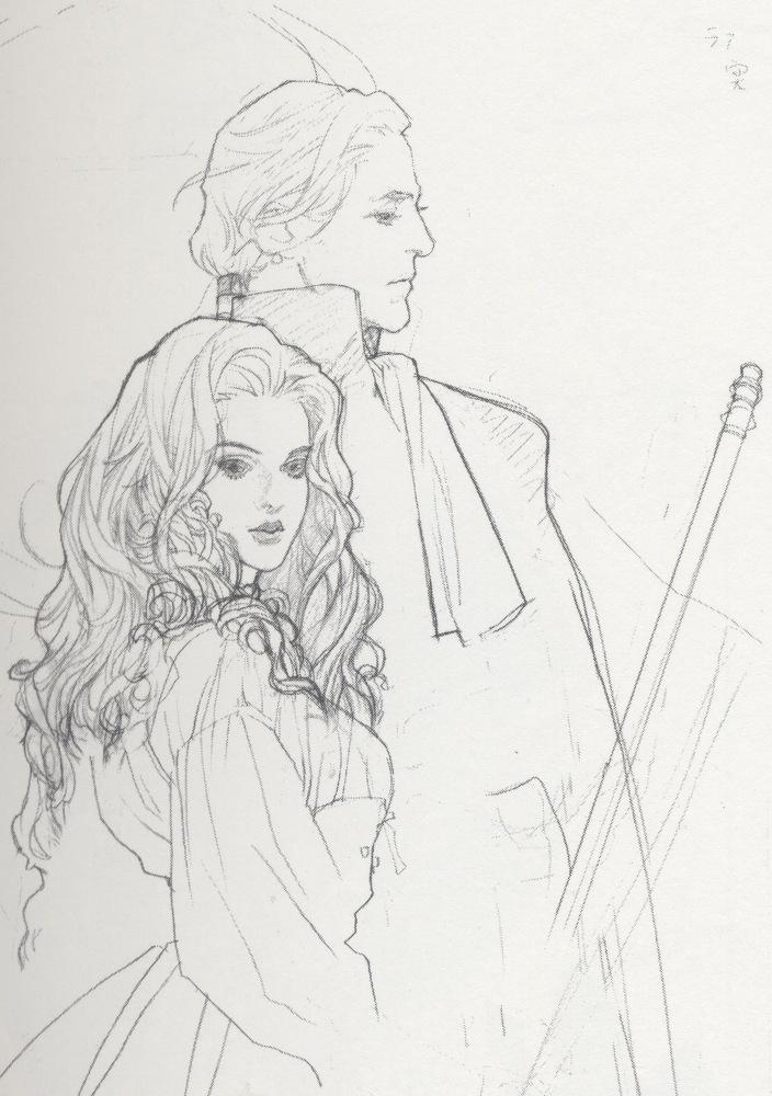 Sketch of couple by manga artist Natsuki Sumeragi.
