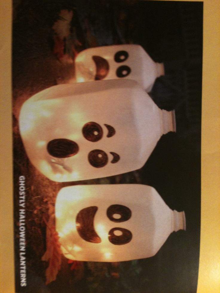 old milk carton filled with lights make great halloween ghost - Milk Carton Halloween Ghosts