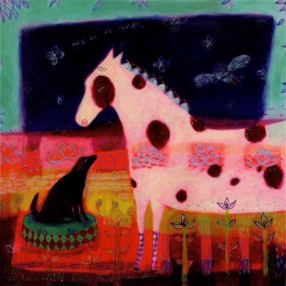 Pinto horse and black dog art print - limited edition giclee on canvas - animal art/whimsical/childrens art