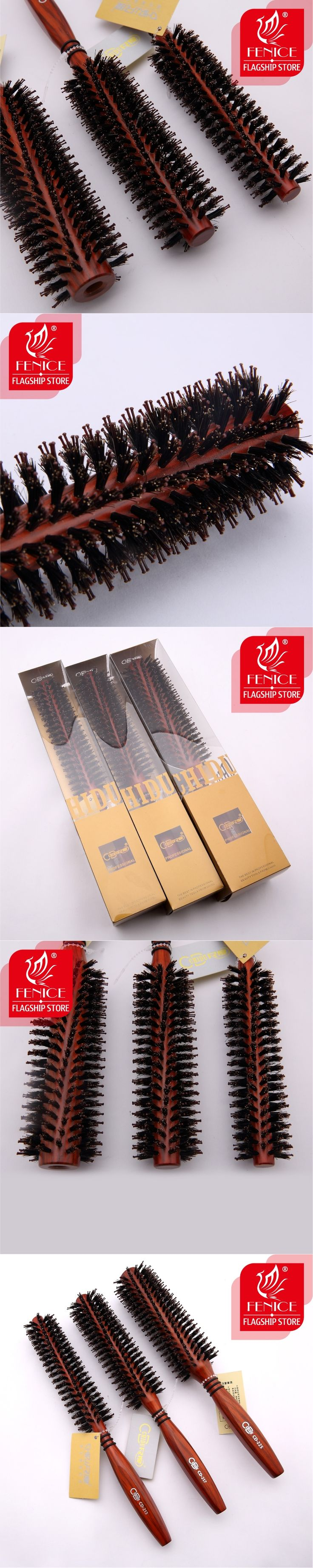 Roll round hair brush  bristle pig mane comb wood handle Brown bristles For curly hair Round bristles tips twill