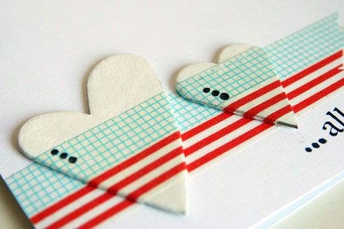 Inspiration: simple and stylish way to stick a heart (or other shape or letter) to a card with washi tape from Mixa och matcha.