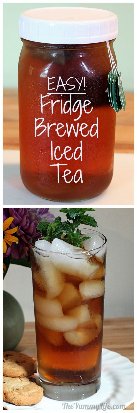 How to Make Refrigerator Iced Tea. No boiling--easy and healthy! Smooth taste without bitterness. TheYummyLife.com
