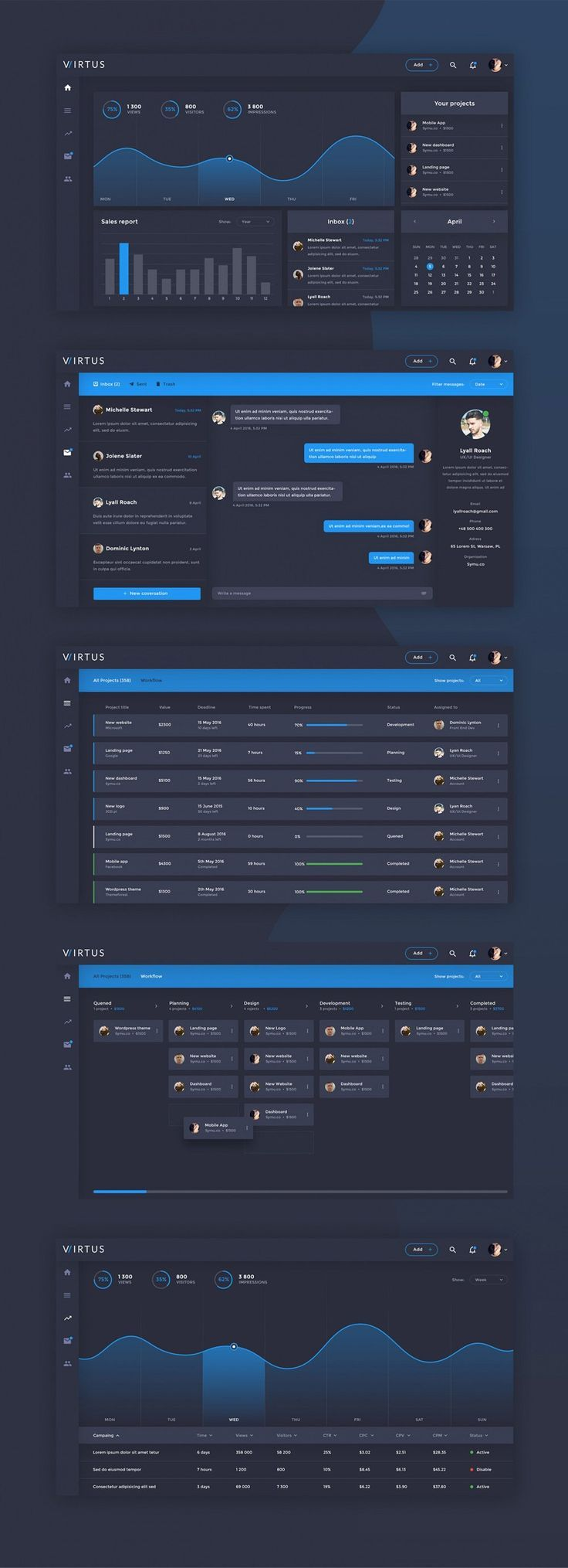 Virtus Dashboard Template PSD. If you like UX, design, or design thinking, check out theuxblog.com podcast https://itunes.apple.com/us/podcast/ux-blog-user-experience-design/id1127946001?mt=2