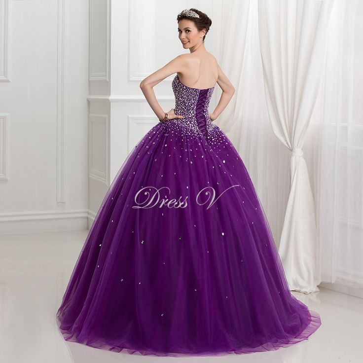 Puffy Ball Gown Purple Quinceanera Dresses 2016 New Arrival Beaded Lace Up Princess Sweet 16 Dress Plus Size Vestidos Debutante-in Quinceanera Dresses from Weddings & Events on Aliexpress.com | Alibaba Group