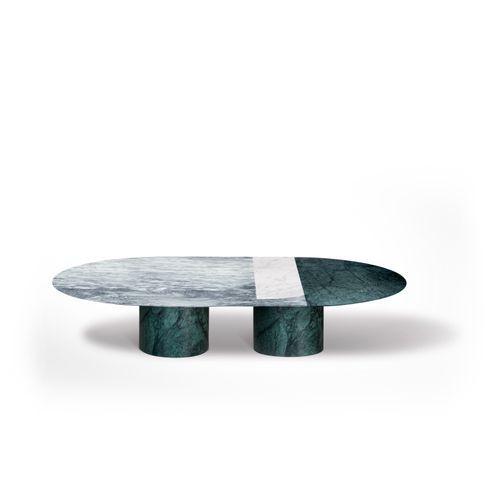 Table Basse Proiezioni en Marbre de Carrare Blanc, Vert des Alpes et Cipolin par Elisa Ossino pour Salvatori