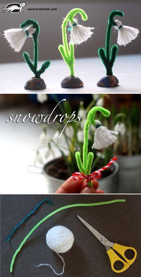Schneeglöckchen aus Pfeifenputzern