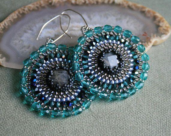 green blue teal grey silver labradorite seed bead by koralikowyraj