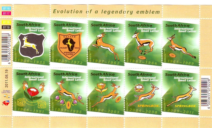 South Africa 2011 Rugby World Cup Stamp sheet