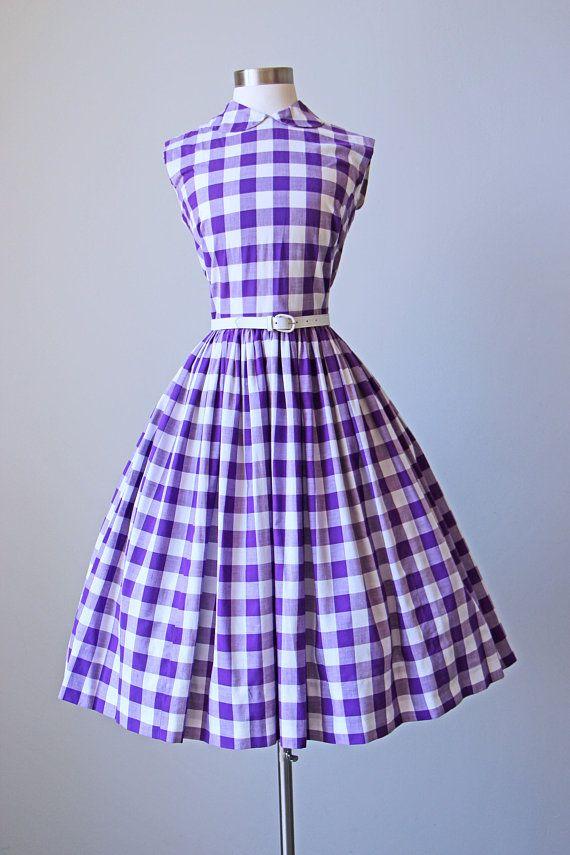 6918966c7d6197 1950s Dress - Vintage 50s Dress - Purple White Cotton Large-scale Gingham  Plaid Peter Pan Collar Sundress Size S | Products | Vintage dresses 50s,  Dresses, ...