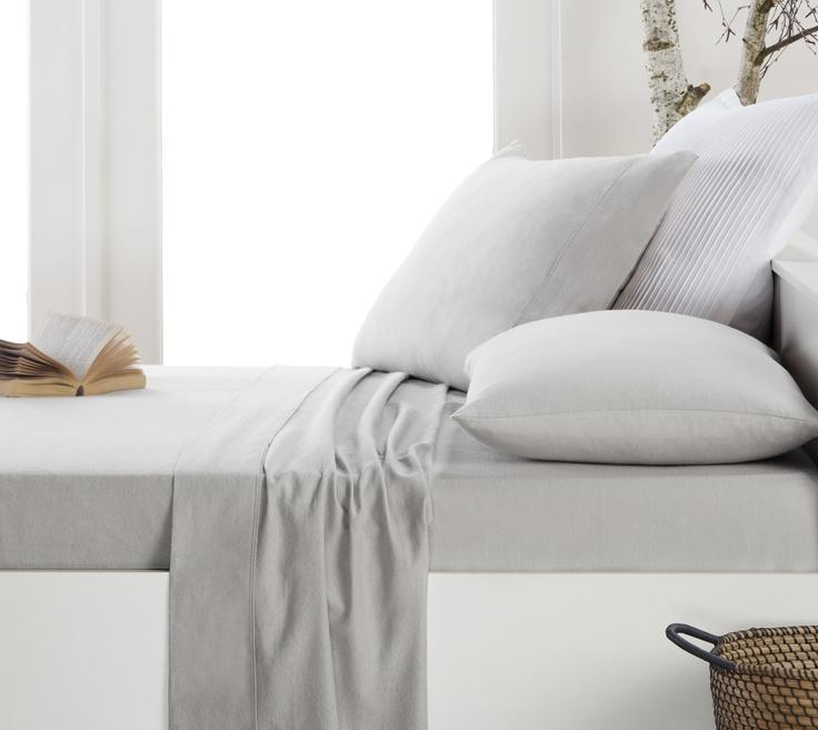 Designes Choice Flannelette Fitted Sheet Set- grey