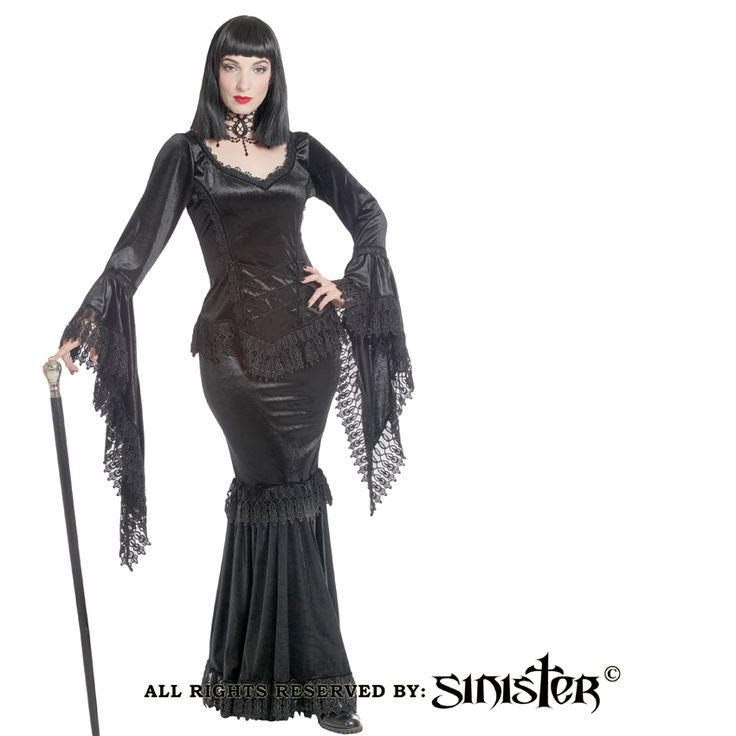 Collection 2015 - Gothic Morticia-like long skirt with fishtail, trimmed with Venetian lace (934) www.sinister.nl