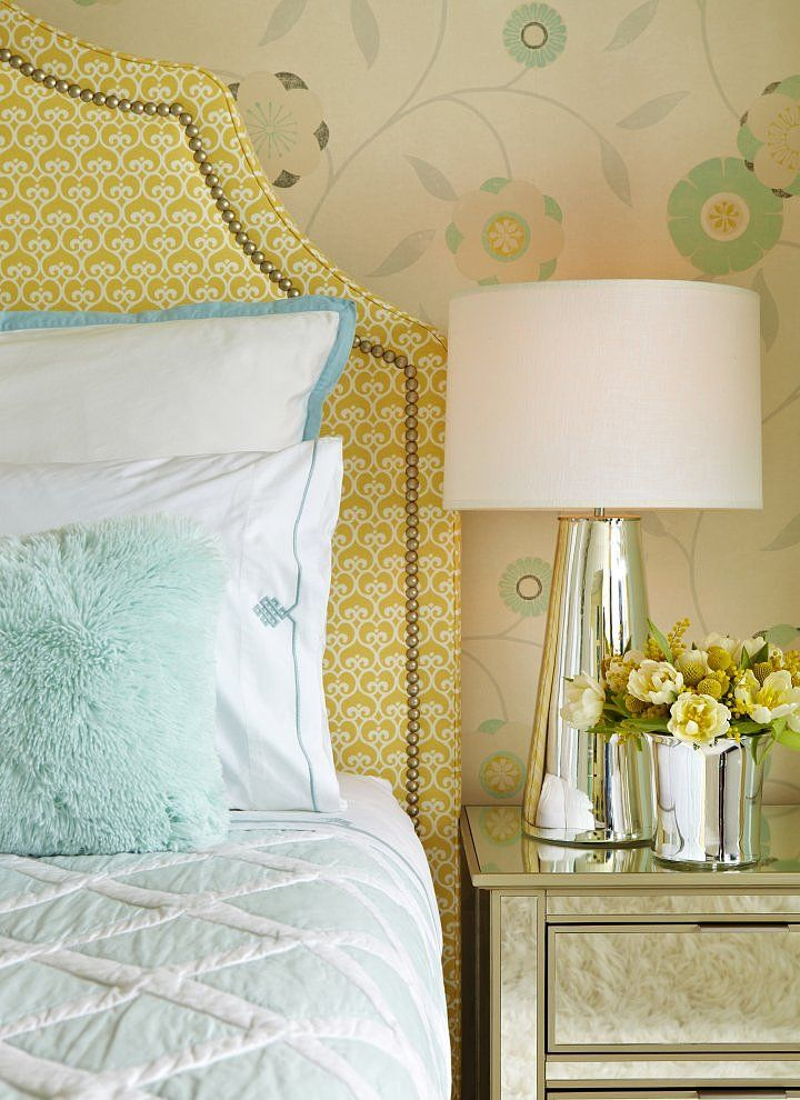 Upper West Side Waterfront Apartment - yellow + aqua mixed patterns