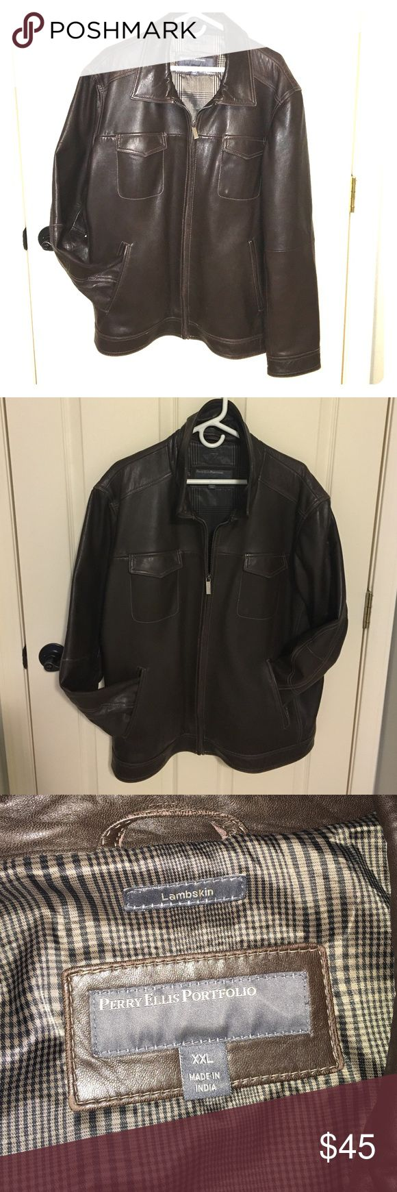 Real Lambskin Leather Jacket! Dark Brown Men's Leather Jacket. Great Condition! Perry Ellis Jackets & Coats