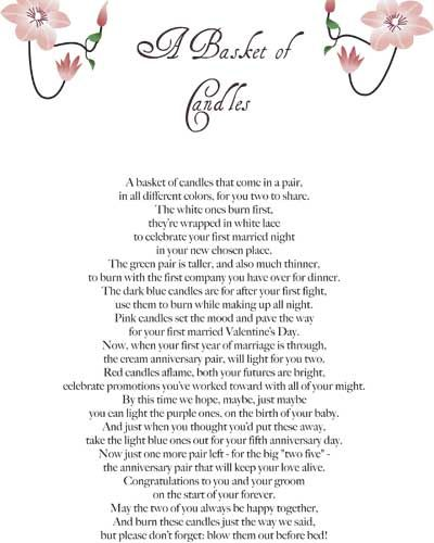 Wedding Candle Gift With Poem : ... :) Pinterest Cute bridal shower gifts, Gifts and Gift b