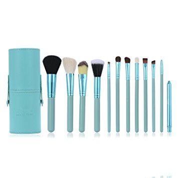 Set de Brochas de Maquillaje Luxebell 12pcs Pinceles Profesionales para Polvos Sombra de Ojos Corrector Ceja (Azul Celeste)