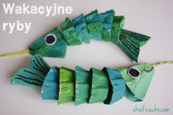 Wakacyjne połowy- rybki z recyklingu [opakowanie po jajkach] przestrzenna praca plastyczna dla dzieci. Holiday fishing - recycled fish [egg pack] spatial plastic artwork for children. diy kids craft