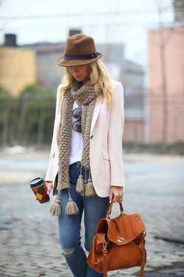 50 Fall Outfits To Copy | StyleCaster...all about texture: felt fedora, knubby knit scarf, weathered leather purse