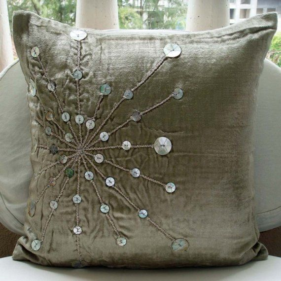 Velvet Pillow Cover with Silver Mother Of Pearl Embroidered Star