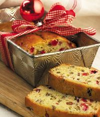 """1 c. sugar  2 T. butter, softened  1 egg, beaten  2 c. all-purpose flour  1 t. baking powder  1/2 t. baking soda  1/2 t. salt  3/4 c. orange juice  1 c. cranberries, chopped  1/2 c. chopped pecans    Blend sugar, butter and egg together in a large bowl. Add remaining ingredients; mix well and pour into a greased 9""""x5"""" loaf pan. Bake at 350 degrees for 45 to 50 minutes. Makes one loaf."""