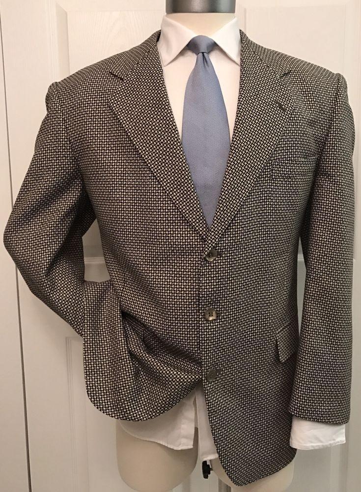 Azzurro Moda Italia Bespoke Custom Silk & Wool Woven Blazer Sport Coat 46R #AzzurroModaItalia #ThreeButton