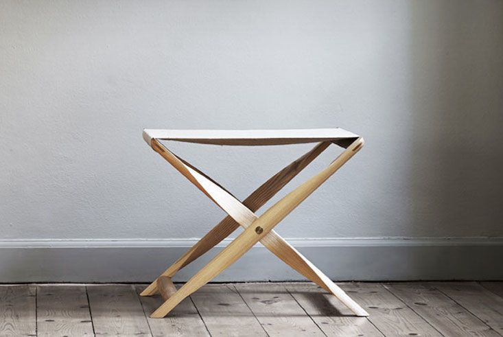 Deisgned by Kaare Klint in 1930, the Propeller Stool is available in solid ash or smoked ash and with a canvas or leather sling via Suite NY (call for pricing).