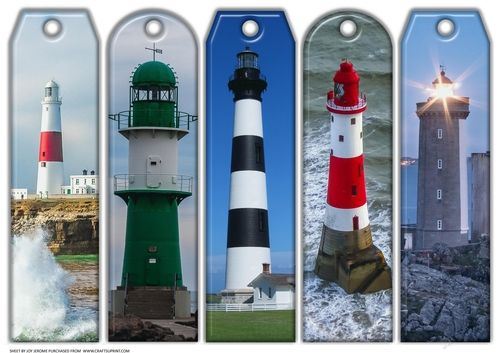JJ ASSORTED BOOKMARKS LIGHTHOUSES by Joy Jerome an a4 sheet with five assorted bookmarks with a lighthouse theme Just print and cut.