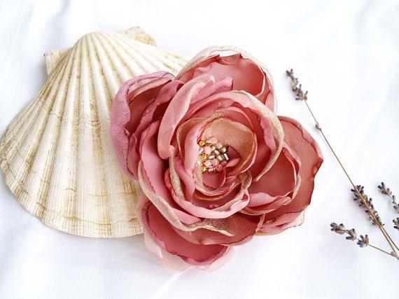 7e6da27da Rose Gold Flower Brooch, Mauve Dusty Pink, Silk Flower Headpiece, Ombre  Hair Piece, Large Corsage Brooch Pin, Gift for Her, Mother Gift Idea