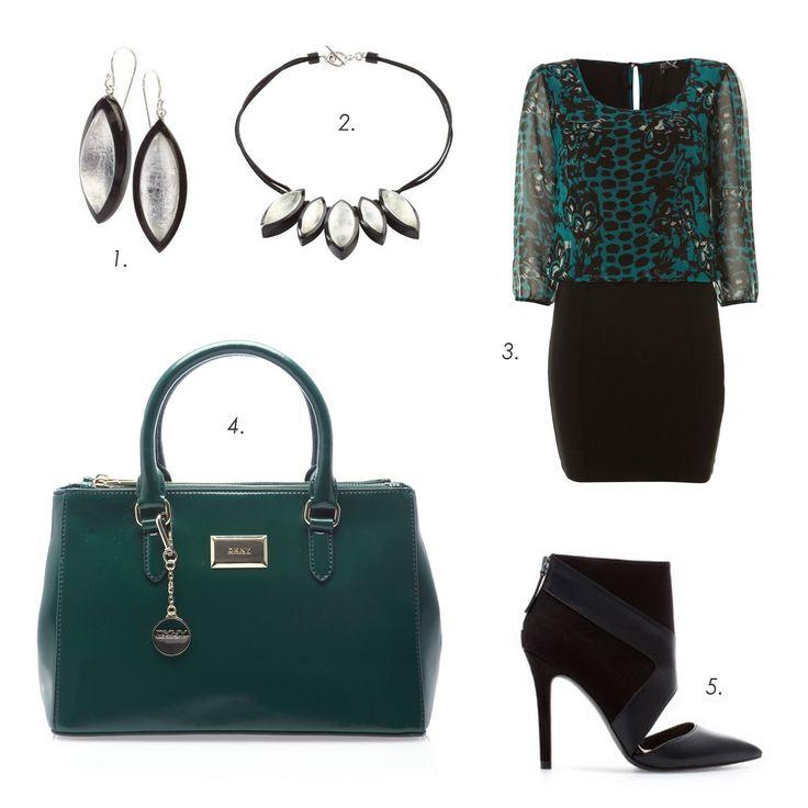 Date night outfit #ZSISKA 1.Earrings: Zsiska 2.Necklace: Zsiska 3.Dress: Dept 4.Bag: DKNY 5.Shoes: Zara