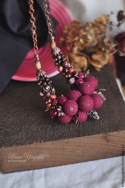 """Купить Колье """"Клюквенный букет"""" - бордовый, винный, ягодный, клюквенный, брусничный, красный, колье"""