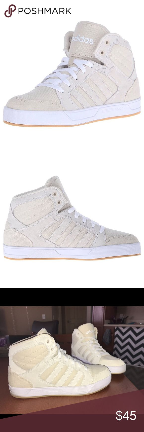 "adidas NEO Women's Raleigh Mid W Casual Sneaker adidas high top sneaker! Only worn once for a short amount of time - they just are too small on my feet because I bought the wrong size. They fit pretty true to size (8.5). Colors are white and a super cool tan/cream color. Rubber sole. Shaft measures approximately 4.5"" from arch. Full grain leather upper. Good support and comfortable. Adidas Shoes Sneakers"