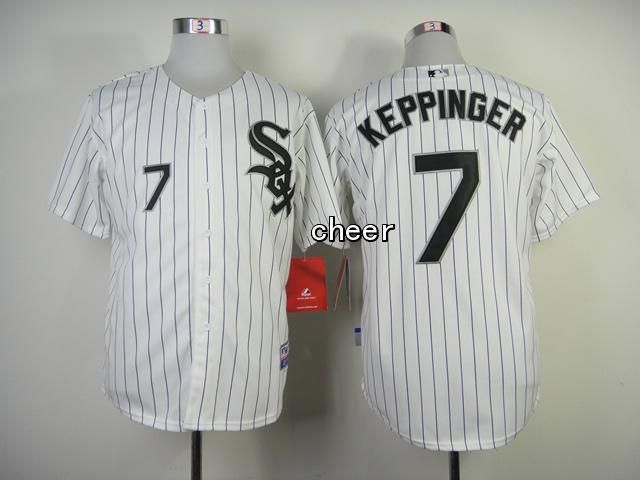 Men's MLB Chicago White Sox #7 Jeff Keppinger White Black Strip Cool Base