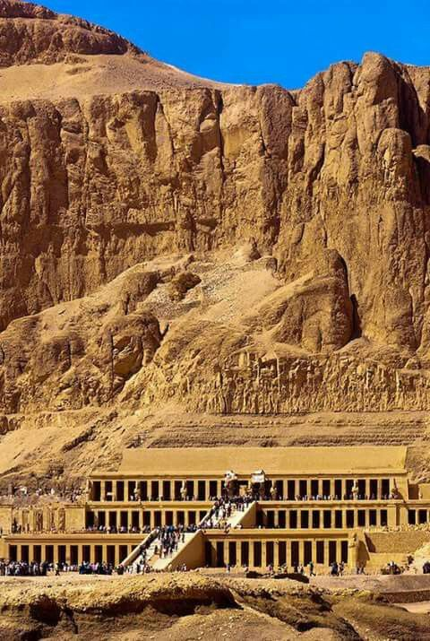 Ancient Egypt Temple of Queen Hatsheput, near the Valley of the Kings, Luxor, Egypt, c. 1478 - 1458 B.C. (18th Dynasty)