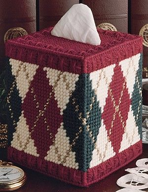 Leisure Arts - The Classic Look of Argyle Plastic Canvas Pattern ePattern, $2.99 (http://www.leisurearts.com/products/the-classic-look-of-argyle-plastic-canvas-pattern-digital-download.html)  Have the pattern for this, just haven't made yet.
