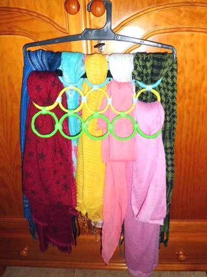 Organizador De Baño Manualidades:Organizador percha casero, con argollas de cortina de baño en des uso
