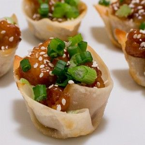Fun appetizer with great presentation! Sesame Chicken in Wonton Cups!