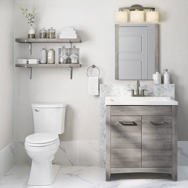 Rustic meets glamorous in this bathroom. Click to shop.
