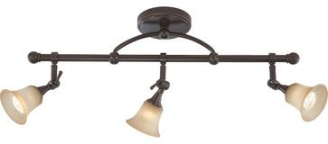 Nuvo Lighting 60-4174 Surrey 3-Light Fixed Track Bar with Auburn Beige Glass transitional-track-lighting
