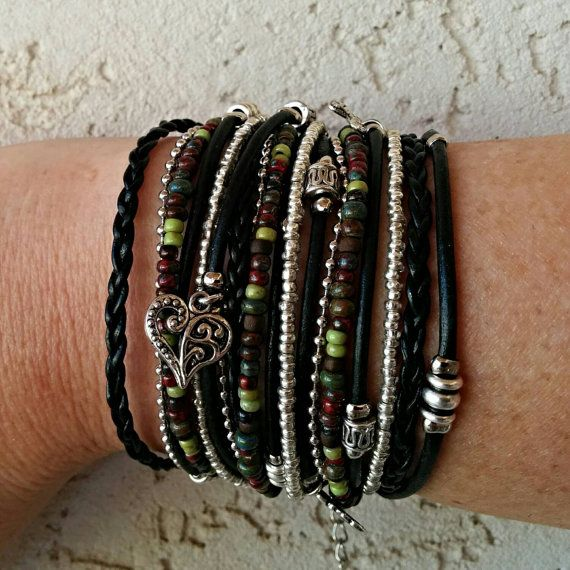 Check out this item in my Etsy shop https://www.etsy.com/listing/217185681/boho-black-leather-wrap-bracelet-multi